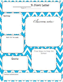 Classroom Newsletters in Stitched Chevron