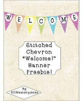 "Stitched Chevron ""Welcome!"" Banner FREEBIE"