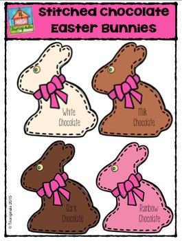 Stitched Chocolate Easter Bunnies {P4 Clips Trioriginals Digital Clip Art}