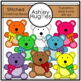 Stitched Christmas Bears Clipart {A Hughes Design}