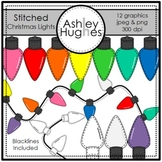 Stitched Christmas Lights Clipart {A Hughes Design}