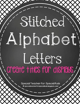 Stitched Circle Chalkboard ALPHABET & NUMBERS