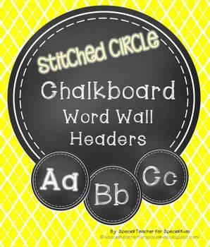 Stitched Circle Chalkboard Word Wall Headers