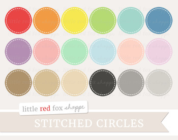 Stitched Circle Label Clipart; Frame, Tag, Banner, Stitch