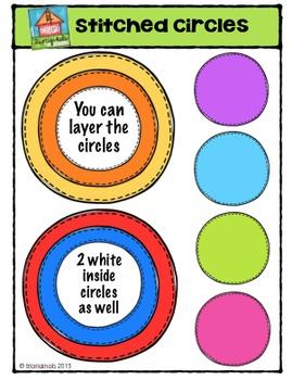 Stitched Circles {P4 Clips Trioriginals Digital Clip Art}