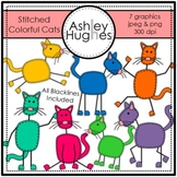 Stitched Colorful Cats Clipart {A Hughes Design}