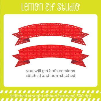 Stitched Curve Ribbon Banners-Digital Clipart (LES.CL35)