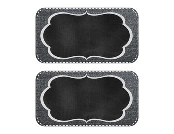 Stitched Dark Denim Chalkboard Labels with Embellishments and Bunting