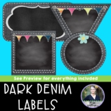 Stitched Dark Denim Chalkboard Labels with Embellishments