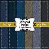 Stitched Denim Digital Background Paper for Commercial Use ~ Scrapbook Paper