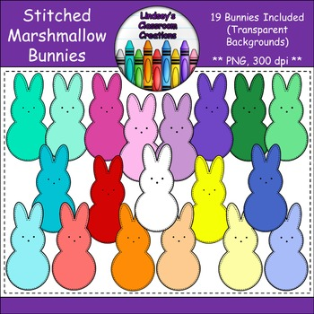 Stitched Easter Bunny Marshmallow Peeps Clipart {Commercia
