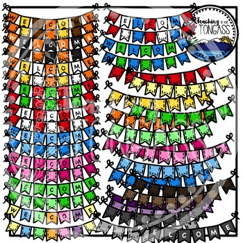 Stitched Flag Bunting Clipart Banners