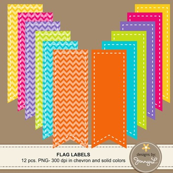 Stitched Flag Labels in Chevron and Bright Solid Colors Clipart Graphics