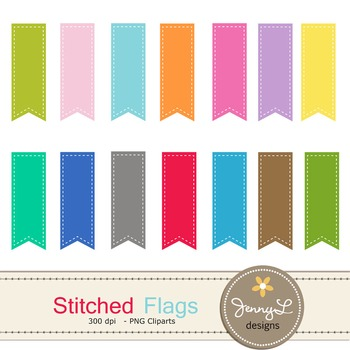 Stitched Flag labels clipart