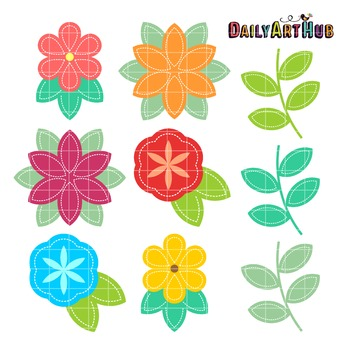 Stitched Flower Clip Art - Great for Art Class Projects!