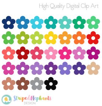Stitched Flowers Clip Art - Polka Dots