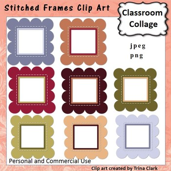 Stitched Frames Clip Art - Color - personal & commercial use