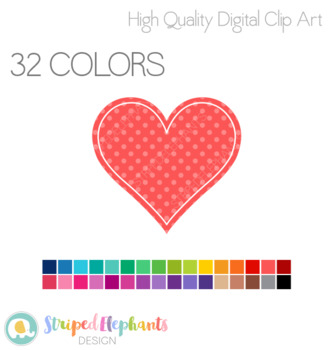 Stitched Heart Clip Art 1 - Polka Dots