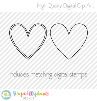 Stitched Heart Clip Art 2 - Polka Dots
