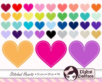 Stitched Heart Clipart / Valentine Clip Art