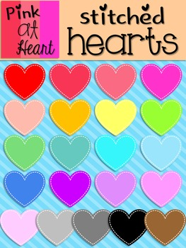 Stitched Hearts Clip Art