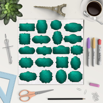 Stitched Leather Frames Clipart, Green Leather Borders {Pretty Graphics}