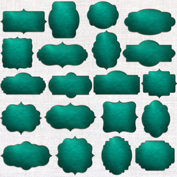Stitched Leather Frames Clipart, Green Leather Borders