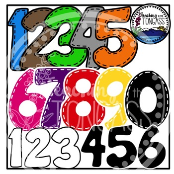 Stitched Numbers Clipart Bundle