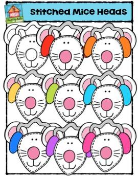 Stitched Mice Heads {P4 Clips Trioriginals Digital Clip Art}