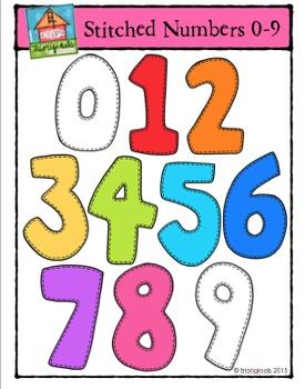 Stitched Numbers 0-9 {P4 Clips Trioriginals Digital Clip Art}