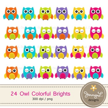 Stitched Owl Clipart in Colorful Bright Solid Colors