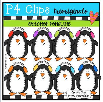 Stitched Penguins {P4 Clips Trioriginals Digital Clip Art}