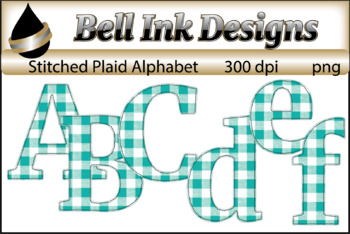 Stitched Plaid Letters Clipart (Green)