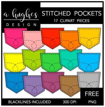 FREE Stitched Pockets Clipart {A Hughes Design}