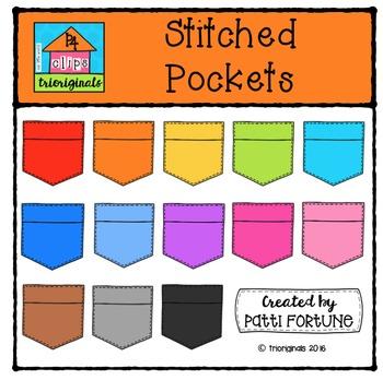 Stitched Pockets {P4 Clips Trioriginals Digital Clip Art}