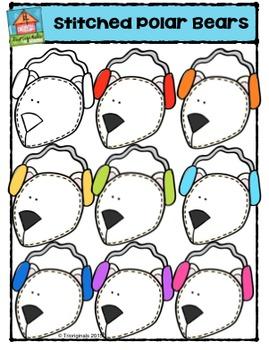 Stitched Polar Bear Heads {P4 Clips Trioriginals Digital Clip Art}
