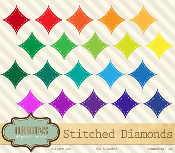 Stitched Rainbow Diamonds Clipart