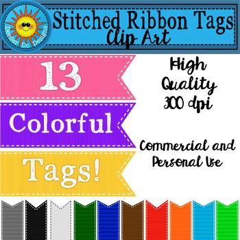 Stitched Ribbon Tags Clip Art
