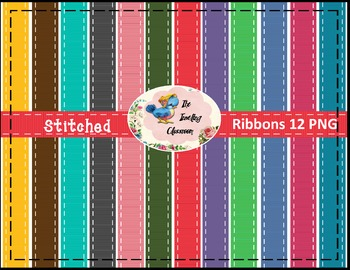 Stitched Ribbons (Digital Ribbons for Commercial Use)