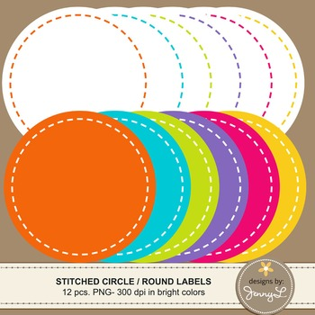 Stitched Round / Circle Labels Clipart in Bright Colors Graphics for Teachers