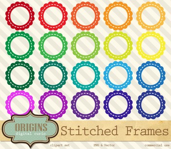 Stitched Scalloped Frames Clipart