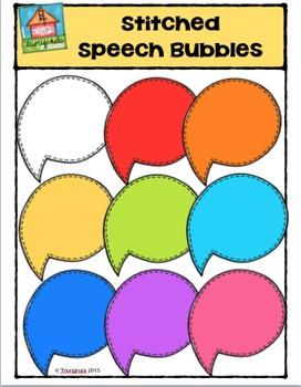 Stitched Speech Bubbles {P4 Clips Trioriginals Digital Clip Art}