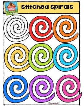 Stitched Spirals {P4 Clips Trioriginals Digital Clip Art}