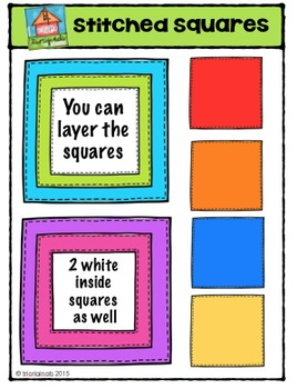 Stitched Squares {P4 Clips Trioriginals Digital Clip Art}