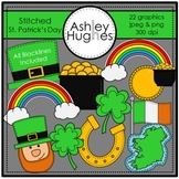 Stitched St. Patrick's Day Clipart {A Hughes Design}