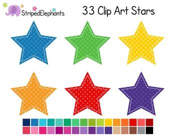 Stitched Stars Clip Art - Polka Dots