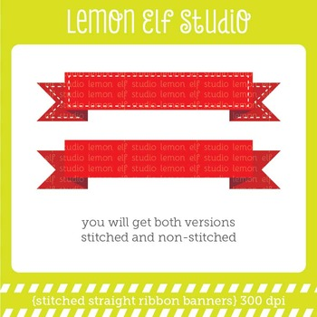 Stitched Straight Ribbon Banners-Digital Clipart (LES.CL34)