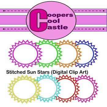 Stitched Sun Stars (Digital Clip Art) CCC