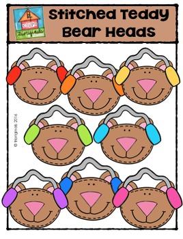 Stitched Teddy Bear Heads {P4 Clips Trioriginals Digital Clip Art}