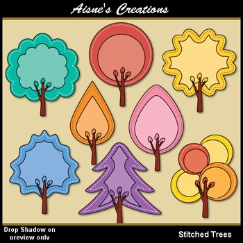 Stitched Trees Clip Art